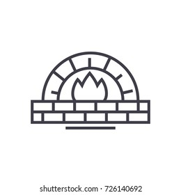 stone oven vector line icon, sign, illustration on background, editable strokes