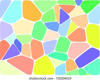 Stone plate. Abstract geometric colorful hexagon shapes ornament vector texture. Beige, brown, turquoise blue gradient mosaic tracery background.