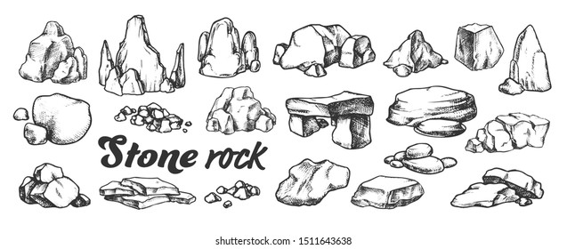 Stone Rock Gravel Collection Monochrome Set Vector. Different Stone, Gravel And Pebble. Natural Rocky Slate Lump Engraving Template Hand Drawn In Retro Style Black And White Illustrations