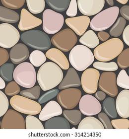 Stone seamless background texture. Pebbles seamless pattern. Colorful seaside wet pebble vector illustration. Spa stones flat design.