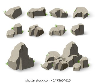 Stone set in style cartoon. Set of different boulders. Element gray granite mountains. Vector illustration on white isolated background