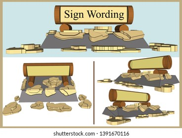Stone Sign Design, Vector & Illustration