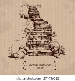 Stone stairs. Hand drawn Vector Illustration