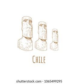 Stone statues of Moai (statue, idol) Chile, Easter Island. Vector illustration  tourist attraction. Latin American travel symbol.