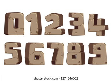 Stone style font numbers 0 to 9