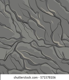 Stone surface texture seamless pattern. Rough gray rock texture. Vector illustration