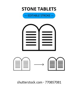Stone tablets jewish vector line icon with editable stroke