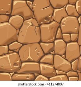 Textura de pedra em cores marrons fundo sem costura. Ilustração vetorial