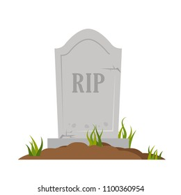 stone tombstone rip,isolated on white background,flat vector illustration