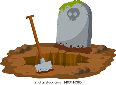 Stone tombstone stands on ground with grave. Skull on stone. Detail cemetery. Moss on monument. Digging hole with shovel. Cartoon illustration. Celebration of Halloween