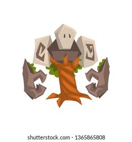 Stone Tree Golem, Fantasy Mystic Monster Creature Cartoon Character Vector Illustration