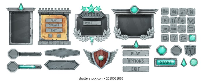 Stone UI game frame, ancient rock button, gray boulder sign board panel, menu concept, victory badge. Medieval user interface RPG fantasy asset element, wooden shield, green crystal. Stone game kit