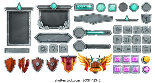 Stone UI game frame set, rock cracked vector button kit, victory badge, boulder sign board, shield. Medieval RPG fantasy user interface objects, level up emblem, green crystal. Stone button collection