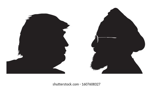 Stone / United Kingdom - January 6 2020: Silhouettes of Donald Trump vs. Hassan Rouhani. Presidents of the United States and Iran. Illustrative for US-Iran tensions. VECTOR ILLUSTRATION.