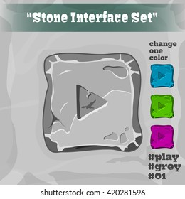 Stone User Interface Element 01. UI and UX Element. Eps 10. Game, cartoon style button. Play button; Player Interface.