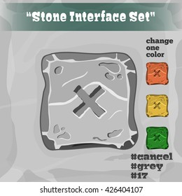 Stone User Interface Element 17. UI and UX Element. Eps 10. Game, cartoon style button. Cancel Button. Player Interface.
