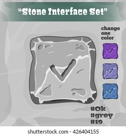 Stone User Interface Element 19. UI and UX Element. Eps 10. Game, cartoon style button. OK Button.  Player Interface.