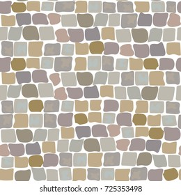Stone vector texture, cartoon ground seamless pattern for game design, landscape gardening outdoor and indoor interiors. Sandstone pavement, crude stone, pebble pavement, wall of stone, cobbled street