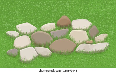 Stone walkway in the grass, illustration
