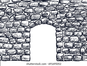 Stone wall with arched door with sketchy style.