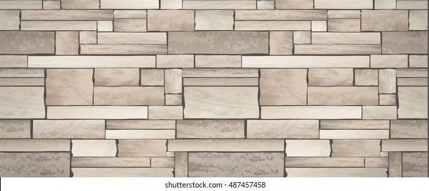 Stone wall banner full vector texture background