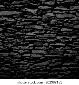 Stone wall, black relief texture with shadow, vector background illustration