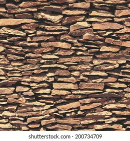Stone wall, brown relief texture with shadow, vector background illustration