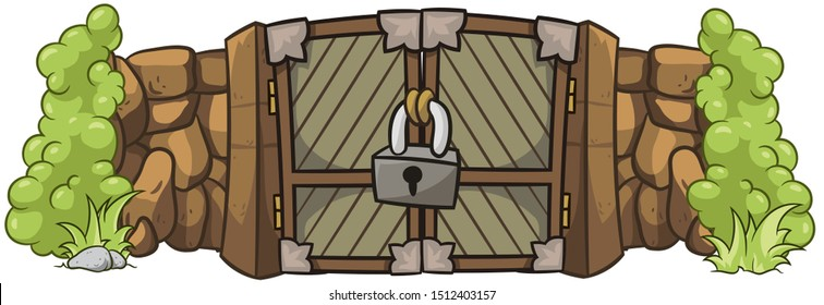 Stone wall and cartoon brown wooden gate with lock