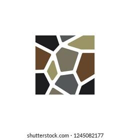 Stone wall logo design illustration