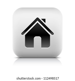 Stone web 2.0 button home symbol sign. White rounded square shape with black shadow and gray reflection on white background. This vector illustration clip-art design element saved in 8 eps