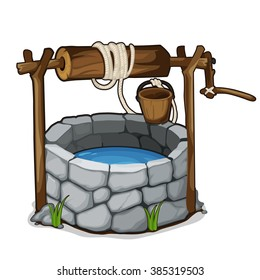 The stone well with a bucket and drinking water isolated on a white background. Cartoon vector close-up illustration.