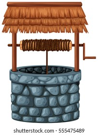 Stone well on white background illustration