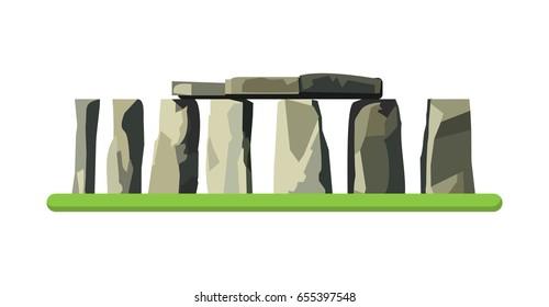 Stonehenge icon isolated on white background. Vector illustration for prehistoric religious landmark architecture. Ancient monument rock. Heritage England UK tourism. Colorful Stonehenge logo symbol