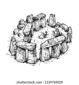 Stonehenge line art sketch illustration black and white aerial view