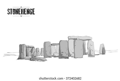 The Stonehenge monument in England. Vector drawing, freehand vintage illustration