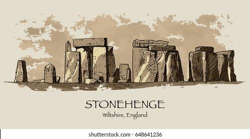 STONEHENGE, WILTSHIRE, UK: Stonehenge, prehistoric monument, hand drawn sketch, illustration. Sepia tone, vector. Poster, postcard, calendar