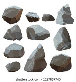 Stones cartoon. Rock mountains flagstone rocky vector illustrations isolated on white background