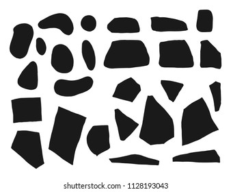 stones and cobblestones set silhouettes vector