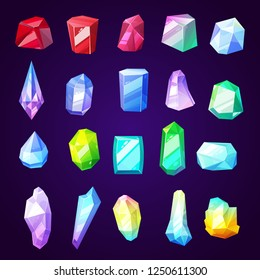 Stones gems and minerals icons for jewelry industry. Rocks and crystals from geological deposits. Diamond and uncut brilliant, amethyst and quartz, garnet and emerald, sapphire and ruby vector