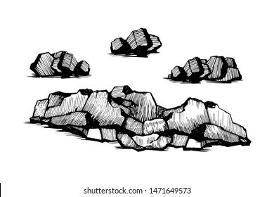Stones hand drawn sketch set. Stones and rocks in drawing stipple style. Set of different boulders. Vector illustration Isolated on white background.