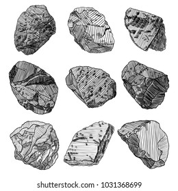 Stones hand drawn sketches set.  Stones and rocks in drawing hatching stipple style. Set of different boulders. Vector.
