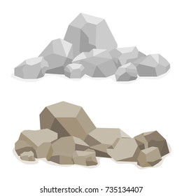 Stones, a hill built of stones, many stones. Flat design, vector illustration, vector.