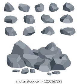 Stones, large and small stones, a set of stones. Flat design, vector