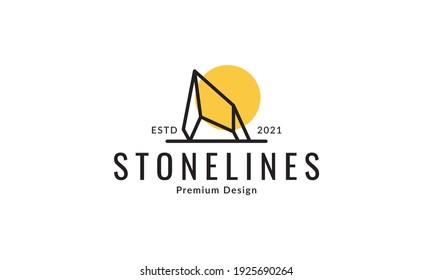 stones lines with sunset logo design vector icon symbol graphic illustration