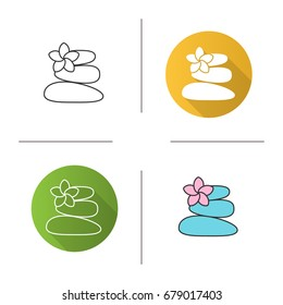 Stones for massage icon. Flat design, linear and color styles. Spa salon. Isolated vector illustrations