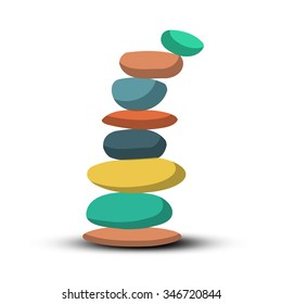 Stones - Pebbles Heap Retro Vector Illustration