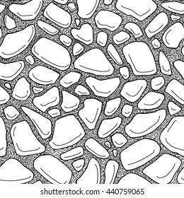 Stones seamless pattern,  illustration hand draw style.
