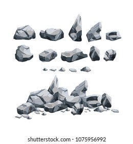 Stones set isolated on white background. Granite rocks in various shape collection, stones elements for landscape design. Nature mountain or boulder blocks vector illustration in cartoon style.
