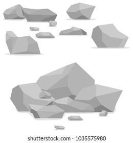 Stones, a set of stones. Mountain of stones. Flat design, vector illustration, vector.