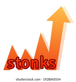 Stonks lettering on a growing chart. A modern internet meme, a neologism meaning a sharp rise in stocks. Color vector illustration